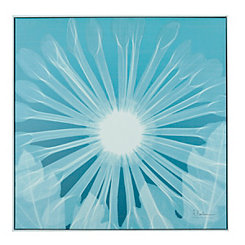 Teal Chrysanthemum Framed Canvas Art Print