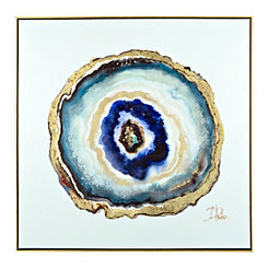 Indigo Watercolor Geode Framed Canvas Art Print