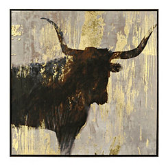 Steer Silhouette Framed Canvas Art Print