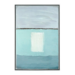 Turquoise and White Abstract Canvas Art Print