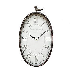 Antique Oval Perched Bird Wall Clock