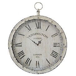 Distressed White Pocket Watch Wall Clock