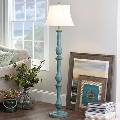 Floor lamps torchiere floor lamps kirklands hadley turquoise floor lamp aloadofball Choice Image