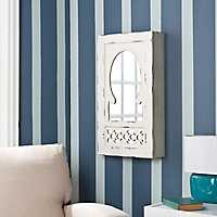 Distressed Cream Chic Wall Mounted Armoire