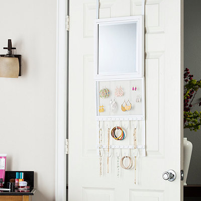 White Mesh Over-the-Door Mirror Organizer