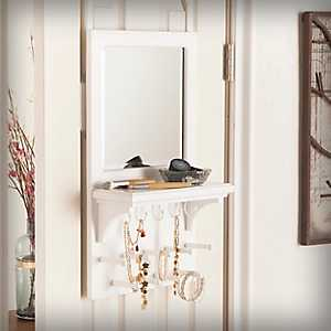 White Shelved Over-the-Door Mirror Organizer