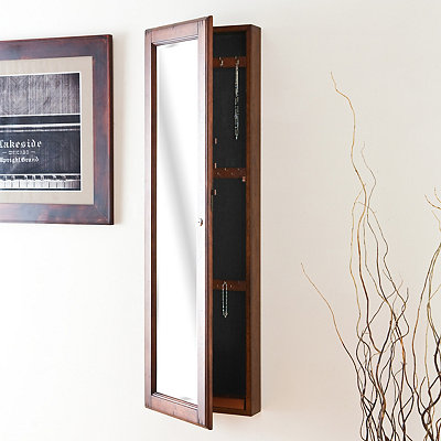 Walnut Marie Wall Mounted Jewelry Armoire
