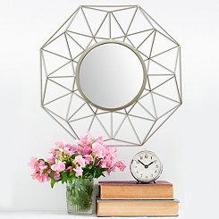 Silver Geometric Amber Wall Mirror