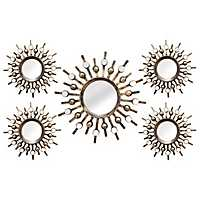 Bronze Burst Wall Mirrors, Set of 5