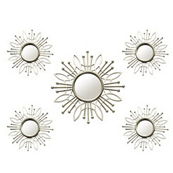 Champagne Burst Wall Mirrors, Set of 5