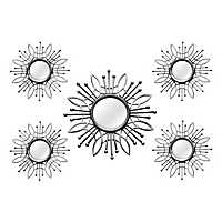 Silver Burst Wall Mirrors, Set of 5