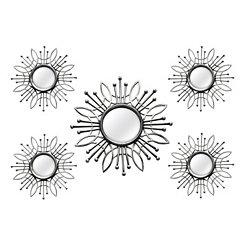 Silver Burst Wall Mirrors, Set of 5