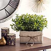 Tea Olive Arrangement in Seersucker Planter