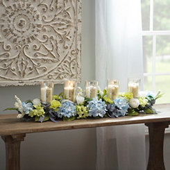 Blue Hydrangea and Ribbon Centerpiece