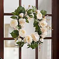 White Peony and Hydrangea Mix Wreath
