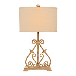 Ivory Metal Scroll Table Lamp