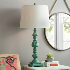 Blue Washed Column Table Lamp