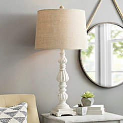 White Washed Column Table Lamp