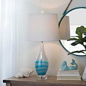 Blue and White Glass Table Lamp
