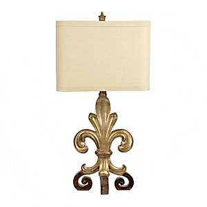 Antique Scrolled Fleur-de-Lis Table Lamp