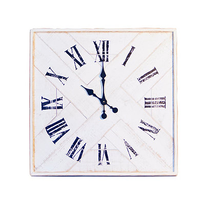 White Wood Plank Wall Clock