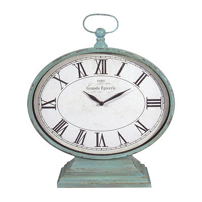 Distressed Turquoise Antique Table Clock