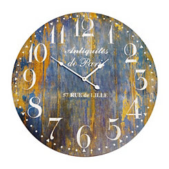 Distressed Blue Wooden Wall Clock