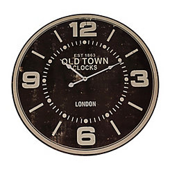 Black Old Town Clocks Wall Clock