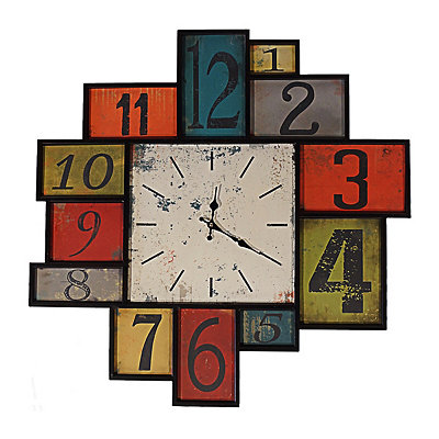 Multicolored Squares Wall Clock : Metal