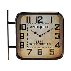 Antiquite Black Metal Double Sided Wall Clock