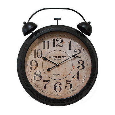 Black Retro Alarm Wall Clock