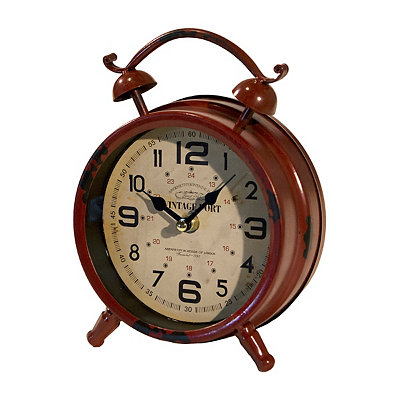 Distressed Dark Red Vintage Table Clock