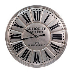 Antiqued Silver Metal Wall Clock