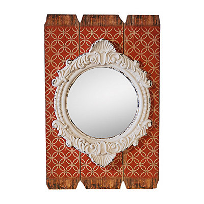 Red Slatted Wood Antique Wall Mirror