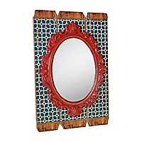 Blue Slatted Wood Antique Wall Mirror