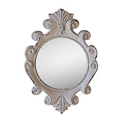 White Antiqued Scalloped Wall Mirror