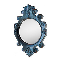 Blue Antiqued Scalloped Wall Mirror