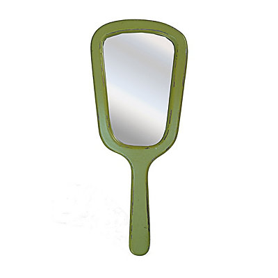 Vintage Green Hanging Hand Mirror