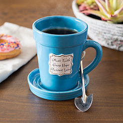 Blue Flower Pot 3-pc. Mug Set