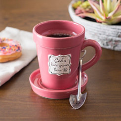 Pink Flower Pot 3-pc. Mug Set