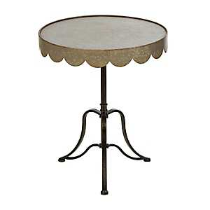 Galvanized Round Scallop Accent Table