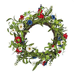 Red White and Blue Daisy Mix Wreath
