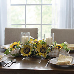 Sunflowers and Gingham Ribbon Centerpiece
