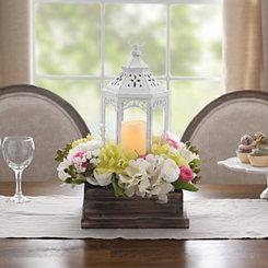 Pre-Lit White Lantern Floral Centerpiece