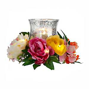 Pre-Lit Bright Peony Mix Floral Candle Holder