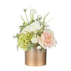 Pink Hydrangea Arrangement in Gold Planter