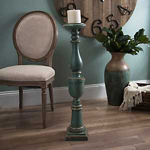 Distressed Turquoise Floor Candle Holder, 36 in.