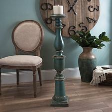 Distressed Turquoise Floor 42 Inch Candle Holder
