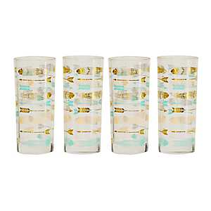 Feather and Arrow Juice Glasses, Set of 4