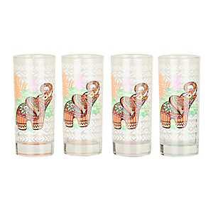 Elephant and Palm Juice Glasses, Set of 4
